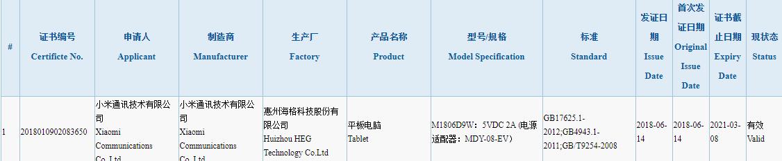M1806D9W-3C-Certification